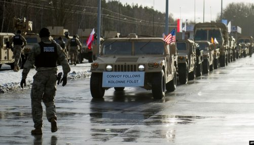 U.S. troops arriving at the Polish-German border on January 12