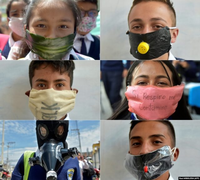 Students from Julio Cesar Turbay school in Soacha, Columbia, wear face masks they made from recyclable and biodegradable materials. They wore them for protection but also to protest against the shortage of masks in city pharmacies.