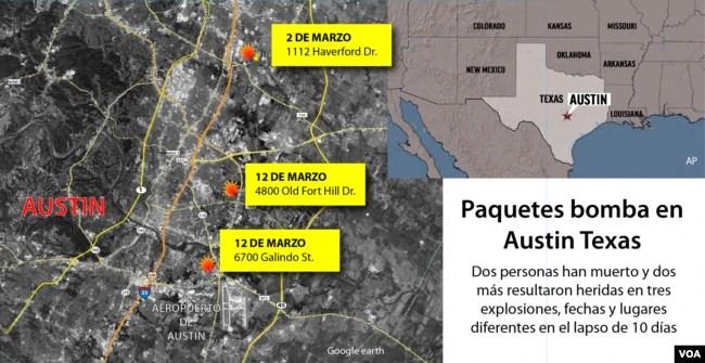 Paquetes bomba podrían estar relacionados con ataque anterior en Austin 1