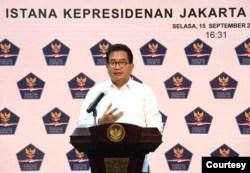 Juru Bicara Satgas Penanganan COVID-19 Prof Wiku Adisasmito dalam telekonferensi pers di Istana Kepresidanen Jakarta, Selasa (15/9). (Setpres RI)
