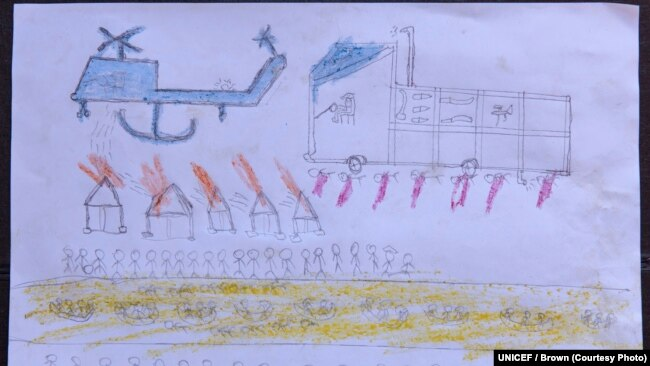 On 2 October 2017, a drawing by a Rohingya boy, Abdullah, revealing the horrific experiences he endured while fleeing from Myanmar to Bangladesh, at the children friendly space at the Balukhali makeshift refugee camp in Cox's Bazar district in Bangladesh.