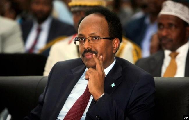 Somalia's President Mohamed Abdullahi Mohamed, also known as Farmajo, attends his inauguration ceremony in Mogadishu, Somalia, Feb. 22, 2017.