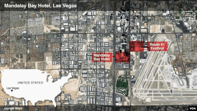 Map showing location of Las Vegas shooting.