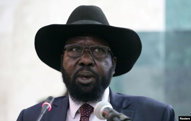 FILE - South Sudan's President Salva Kiir addresses the second session of the Transitional Government of National Unity at the Parliament in Juba, Feb. 21, 2017.