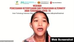 Psikolog klinis Feka Angge Pramita dalam webinar Pencegahan Keterpisahan dan Pengasuhan Alternatif Bagi Anak Terdampak Covid-19, Senin, 19 Juli 2021. (Foto: VOA)