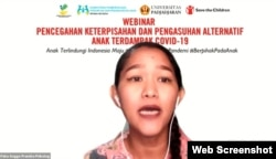 Clinical psychologist Feka Angge Pramita in a webinar on Separation Prevention and Alternative Parenting for Children Affected by Covid-19, Monday, July 19, 2021. (Photo: VOA)