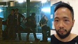 Hình ảnh video cho thấy cảnh 6 nhân viên công lực mặc thường phục lôi kéo một nhân viên xã hội tới một lối vào khuất sáng của một tòa liên tục đánh đập nạn nhân Tăng Kiện Siêu (phải) trong suốt 4 phút đồng hồ.