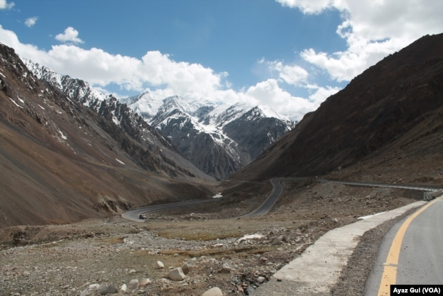 Karakorum Highway snake pasts some of the highest mountains on earth.
