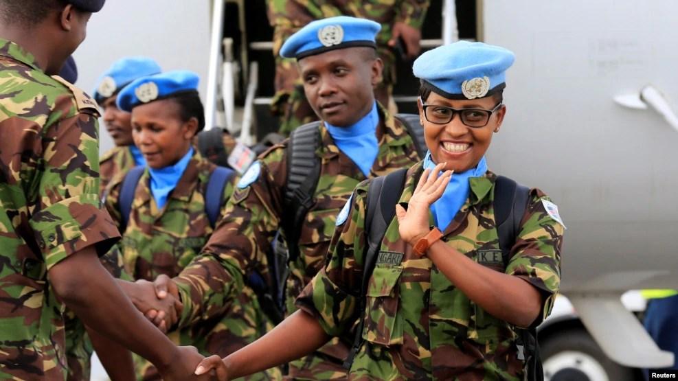 Kenya Defense Forces (KDF) soldiers, the first batch of the troops who had served in the U.N. peacekeeping mission in South Sudan, arrive at the Jomo Kenyatta international airport in Nairobi, Kenya, Nov. 9, 2016.
