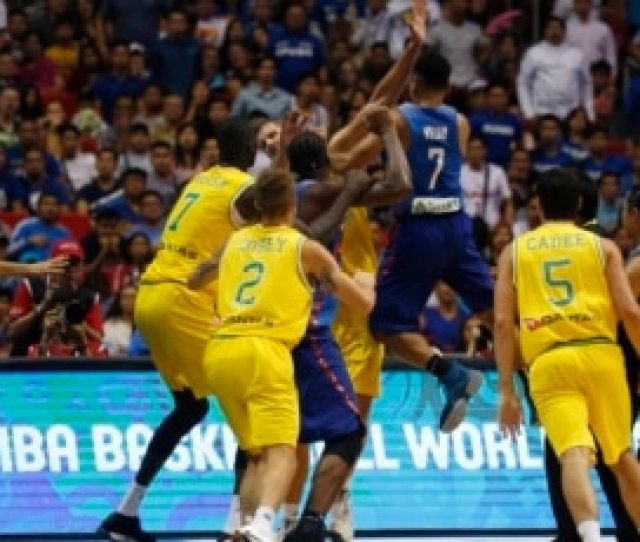 The Philippines And Australian Basketball Players React During The Fiba World Cup Qualifiers Monday