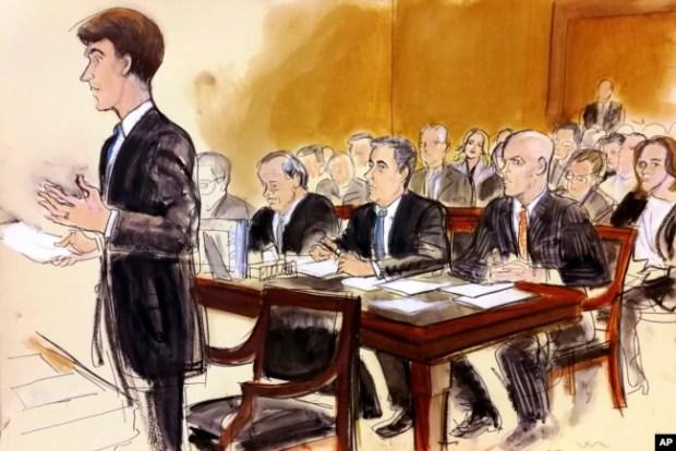 Ilustración de la audiencia del lunes ante la jueza Kira Wood, en Nueva York.
