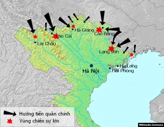 Các hướng tiến quân và vùng chiến sự chính trong cuộc chiến biên giới Việt - Trung 1979 (Ảnh: Wikipedia)