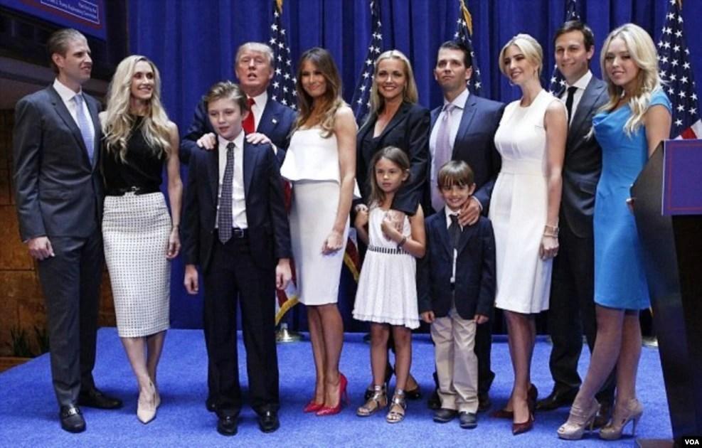 川普全家支持川普竞选,多次集体出席竞选活动