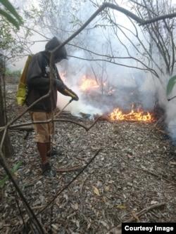 Lahan terbakar musim kemarau di Kalimantan (foto courtesy: Hermanto).