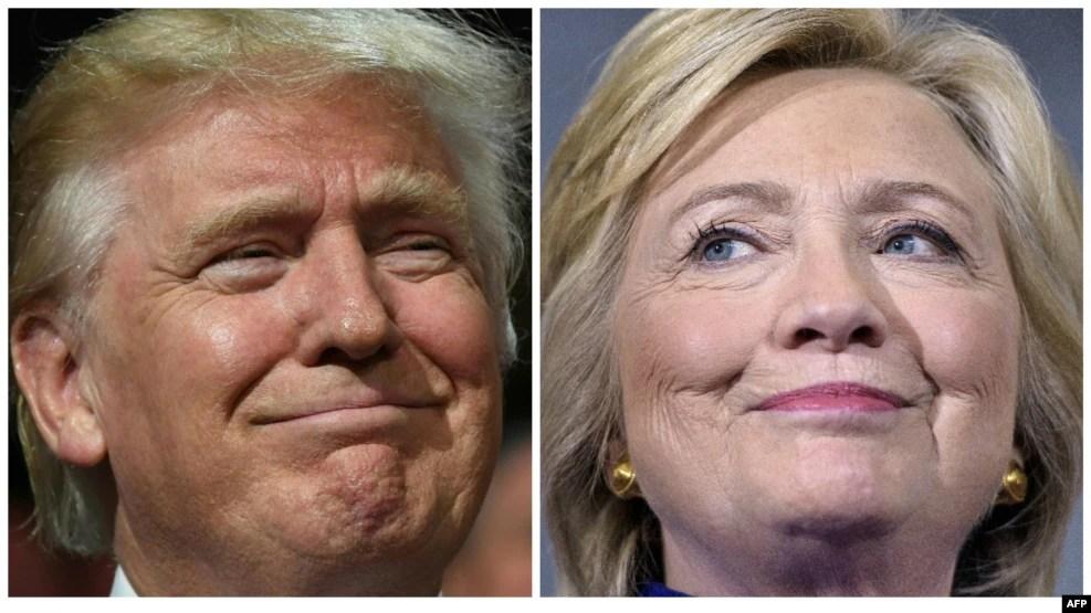 Ứng cử viên tổng thống của Đảng Dân chủ Hillary Clinton (phải) và đối thủ bên Đảng Cộng hòa Donald Trump.