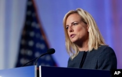 U.S. Secretary of Homeland Security Kirstjen Nielsen speaks at the National Sheriffs' Association convention in New Orleans, Louisiana, June 18, 2018.