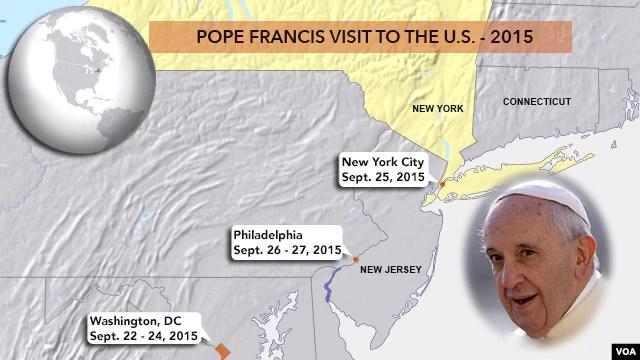 Hành trình tới New York, Washington và Philadelphia từ ngày 22/9 đến ngày 27/9 của Đức Giáo Hoàng.