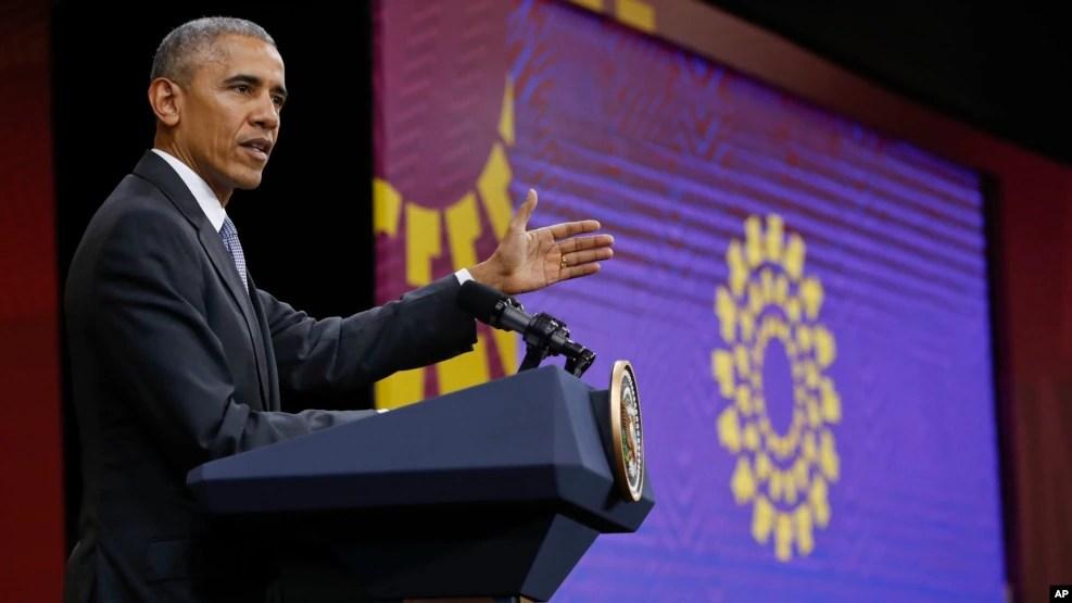 Tổng thống Mỹ Barack Obama trong cuộc họp báo tại Diễn đàn Hợp tác Kinh tế châu Á – Thái Bình Dương (APEC) ở Lima, Peru, 20/11/2016.
