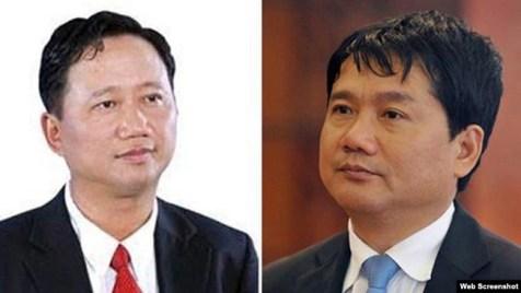 Ông Trịnh Xuân Thanh và ông Đinh La Thăng (Ảnh chụp từ VTV)