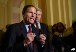 FILE - Sen. Richard Blumenthal, D-Conn., speaks to reporters during a news conference on Capitol Hill in Washington, Feb. 7, 2017.