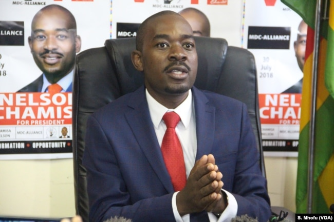 Nelson Chamisa of the Movement for Democratic Change Alliance, told reporters (07/17/2018) in Harare that his party's impasse with the Zimbabwe Electoral Commission had been taken the Southern African Development Community.
