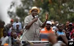 Kenyan opposition leader Raila Odinga addresses a crowd of his supporters in the Kibera area of Nairobi, Kenya, Sept. 2, 2017.