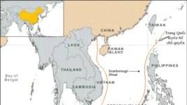 Bản đồ đường lưỡi bò của Trung Quốc ở Biển Đông.