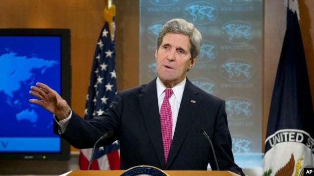 Bộ trưởng Ngoại giao John Kerry công bố phúc trình thường niên về nhân quyền của Bộ Ngoại giao 27/2/14 tại trụ sở Bộ Ngoại giao Hoa Kỳ trong thủ đô Washington