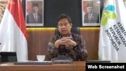 Menkes Budi Gunadi Sadikin dalam telekonferensi pers usai Ratas di Jakarta, Senin (27/9) menepis kabar terciptanya ribuan kasus Corona di sekolah akibat adanya PTM (VOA)
