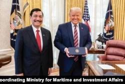 President Donald Trump met with the Indonesian Coordinating Minister for Maritime Affairs and Investment Luhut Binsar Pandjaitan on Nov. 17, 2020. (Photo courtesy Indonesian Coordinating Ministry for Maritime and Investment Affairs)