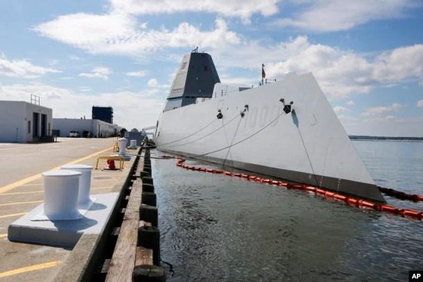 美國海軍所稱最先進驅逐艦2016年10月9日停靠在美國紐波特海軍基地