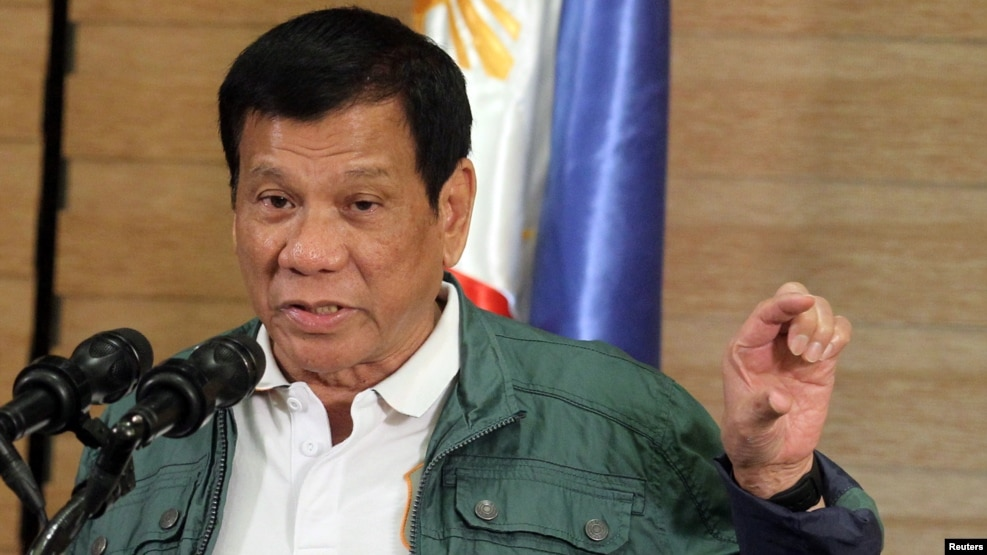Tư liệu - Tổng thống Philippines ông Rodrigo Duterte phát biểu tại một cuộc họp báo tổ chức tại Davao.