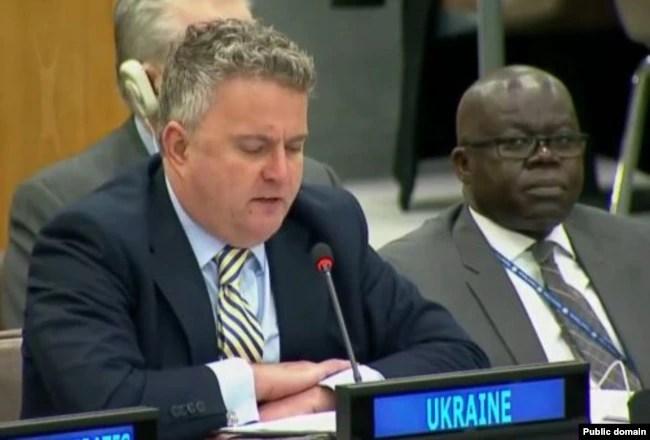 Сергій Кислиця, заступник міністра закордонних справ України представляє проект резолюції