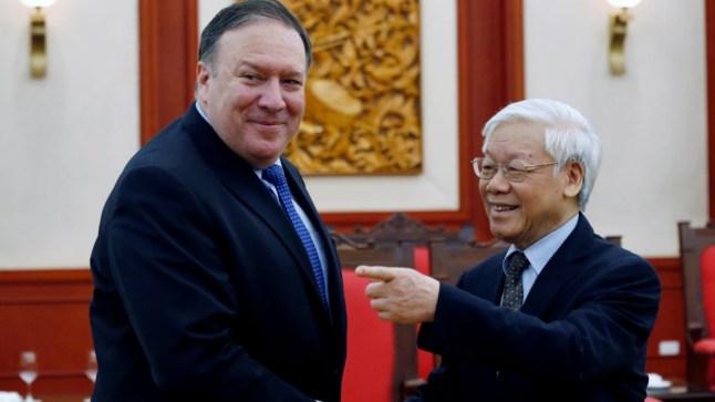 Ngoại trưởng Mỹ Mike Pompeo gặp Tổng bí thư Nguyễn Phú Trọng hôm 8/7.