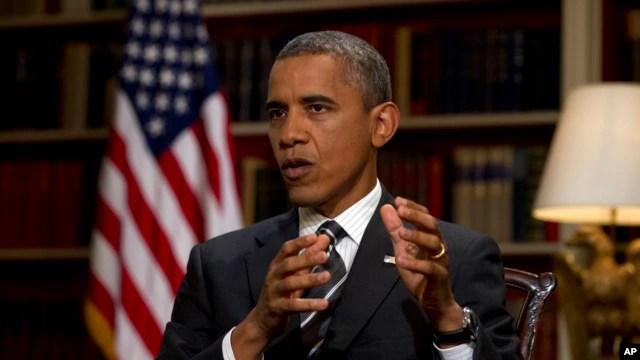 Tổng thống Obama phát biểu trong một cuộc phỏng vấn tại Tòa Bạch Ốc.