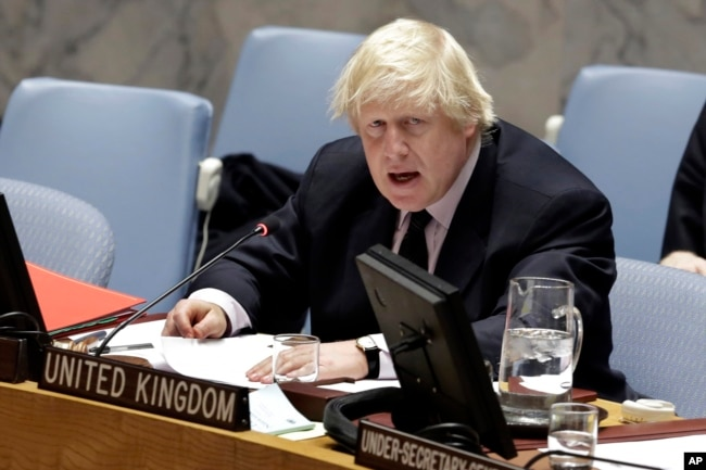 Britain's Foreign Minister Boris Johnson addresses the U.N. Security Council on Somalia, March 23, 2017.