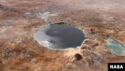 This photo shows Jezero Crater - the landing site of the Mars 2020 Perseverance rover - as it may have watched billions of years go by on Mars, when it was a lake.  There is also a strait and an exit on either side of the loch.  (Image credit: NASA / JPL