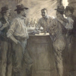 An picture of men at a bar used with one of Bret Harte's stories in Harper's magazine in 1902.