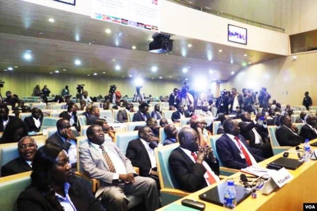 FILE - South Sudan government delegates attend peace talks in Addis Ababa, Ethiopia. (J. Tanza/VOA)