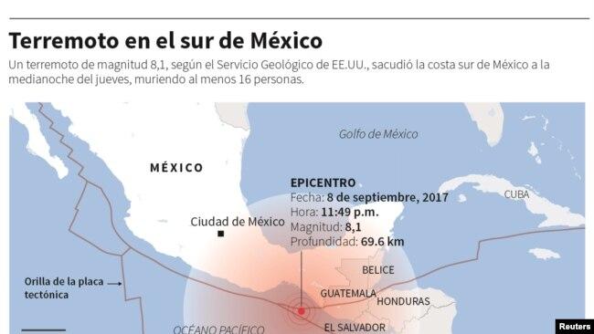 El terremoto en México ha causado al menos 16 muertos.