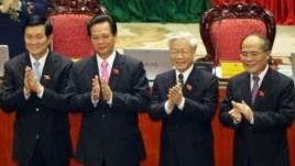 Từ trái: Chủ tịch nước Trương Tấn Sang, Thủ tướng Nguyễn Tấn Dũng, Tổng Bí thư Nguyễn Phú Trọng, Chủ tịch Quốc hội Việt Nam Nguyễn Sinh Hùng.
