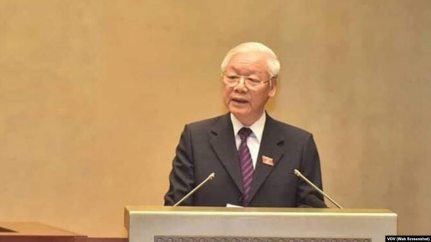 Chủ tịch nước Nguyễn Phú Trọng đọc tờ trình trước Quốc hội về việc phê chuẩn CPTPP.