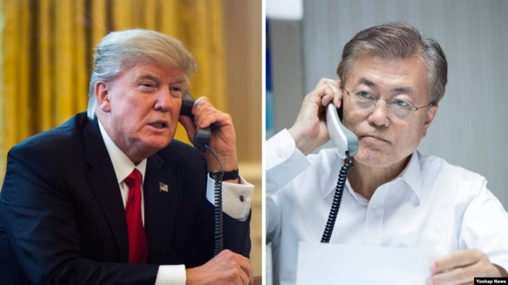 Image result for Trump & Moon on phone conversation