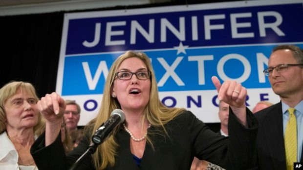 Democrat Jennifer Wexton speaks at her election night party after defeating Rep. Barbara Comstock, R-Va., Nov. 6, 2018, in Dulles, Virginia.