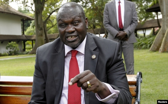 South Sudan's rebel leader Riek Machar speaks during an interview in Nairobi, Kenya, July 8, 2015.
