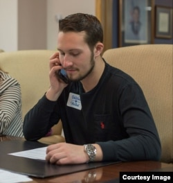 Oliver Lake, 20, volunteering at the Summit County Republican Party Headquarters in Akron, Ohio, February 24, 2018.