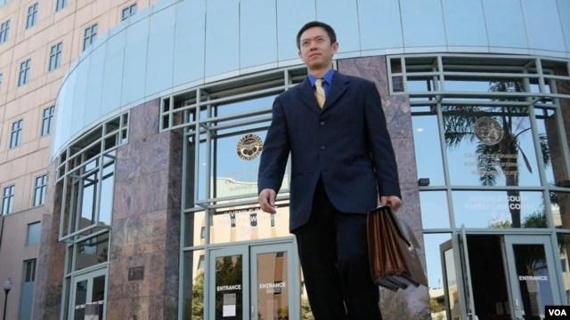 律师梁志毅经常进出的高等法院(美国之音国符拍摄)