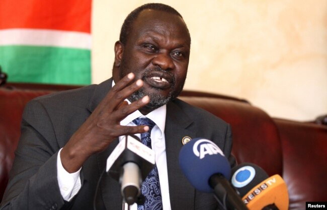 FILE - South Sudan's rebel leader Riek Machar addresses a news conference in Ethiopia's capital Addis Ababa, Oct. 18, 2015.