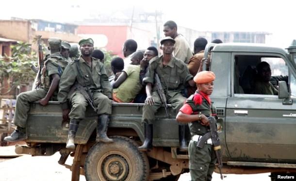 Soldados congoleses em Butembo, província de North Kivu