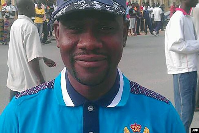 FILE - This handout picture provided by Radio France International shows reporter Ahmed Abba in Maroua, Cameroon.